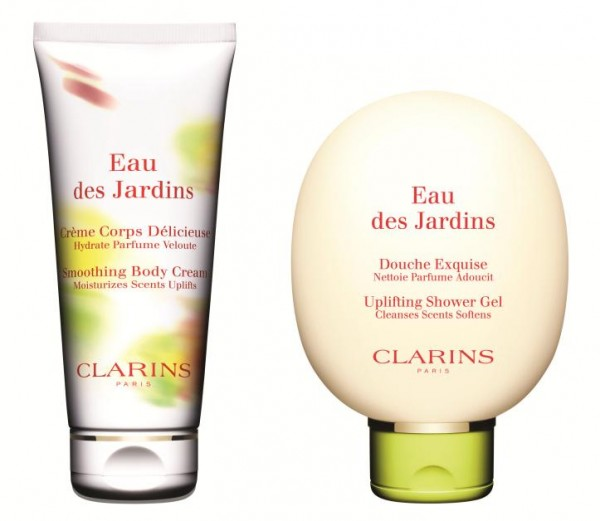 Clarins Eau des Jardins shower gel and body cream