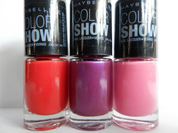 Maybelline Color Show Nail Polishes in Power Red, Purple Gem, Pink Bloom