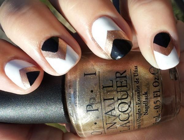 Gold Black Chevron Nails