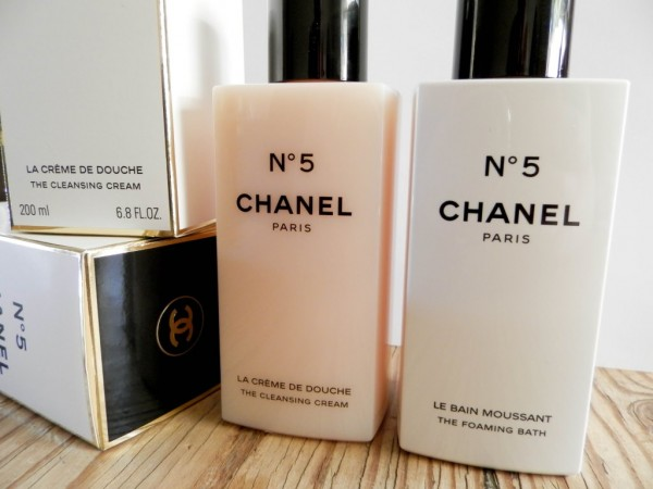 Chanel No 5 Cleansing Cream and Foam Bath. After sniffing them daily for about a week I'm taking these two for a test drive in the tub tonight.