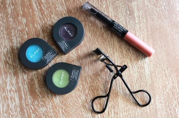 Almay Shadow Softies, Revlon Colorstay Overtime Lip Color in Neverending Nude, Rubybox Tools Eyelash Curler