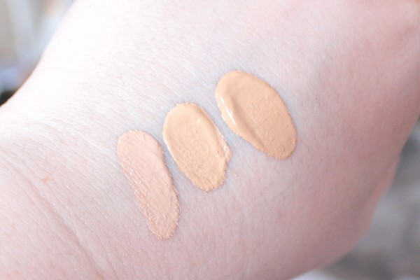 L'Oreal Nutri Lift Gold Anti Ageing Serum foundation swatches: 150 Creamy Beige, 180 Rosy Beige, 330 Golden Honey