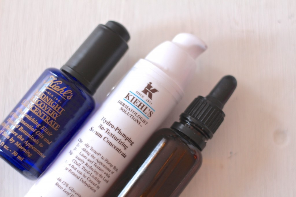 Kiehl's Midnight Recovery (avoid if you're sensitive to essential oils) and Kiehl's Hydro Plumping Retexturising Concentrate. The unlabelled bottle is pure, organic Argan Oil which my skin absolutely loves. Can't say much more because it's not on the market yet.