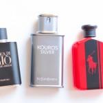 Acqua di Gio Profumo, YSL Kouros Silver, Ralph Lauren Polo Red Intense.