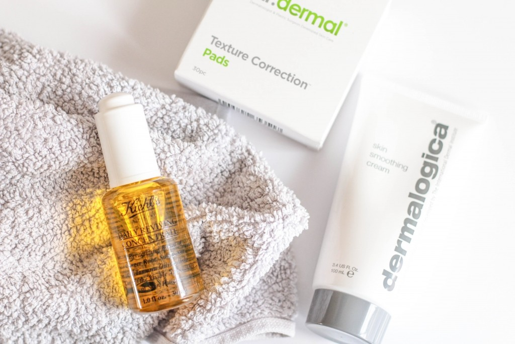 Dr Dermal Texture Correction Pads, Dermalogica Skin Smoothing Cream, Kiehl's Daily Reviving Concentrate