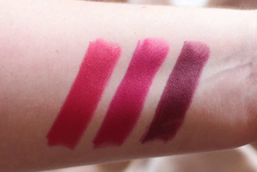 Essence Merry Berry Lipsticks in 01 Let's The Berry-Tales Begin, 02 Pink & Perfect and 03 Red Rocks swatched