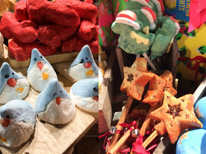 Clockwise FLTR: Penguin, Ruby Red Slippers, Santasaurus and Magic of Christmas bubble bars