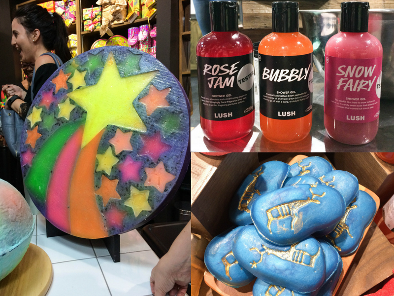 LUSH Christmas product Clockwise FLTR: Shooting Start soap, Rose Jam, Bubbly and Snow Fairy shower gels, Reindeer Rock soap.