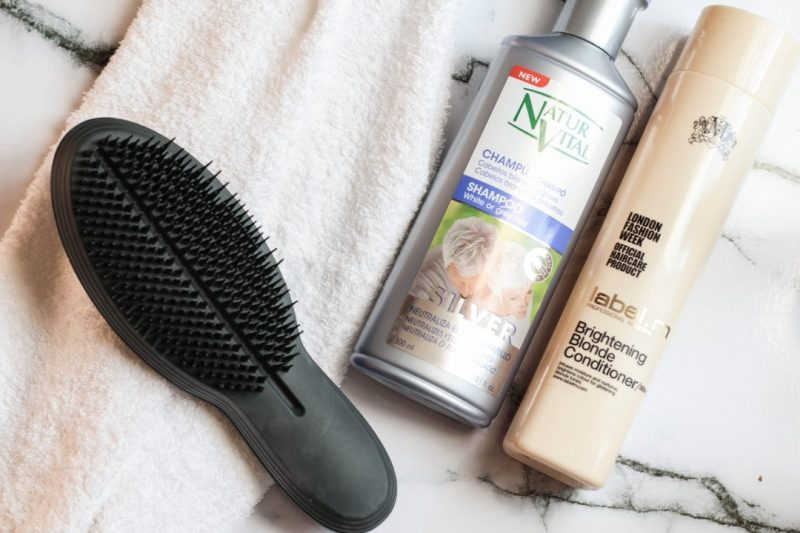 tangle teezer ultimate, natur vital silver shampoo, label m brightening blonde conditioner