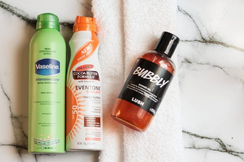 vaseline spray n go, palmers spf50, lush bubbly shower gel
