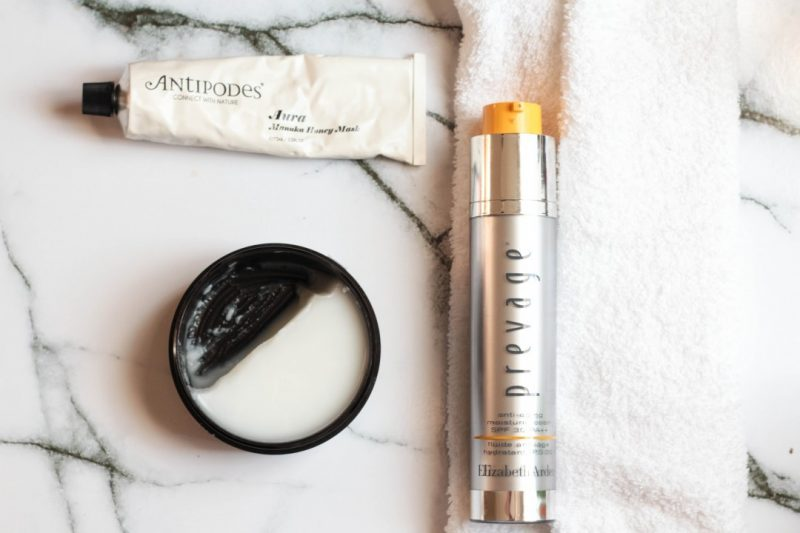 ysl top secrets cleansing balm, antipodes manuka honey mask, prevage moisturiser